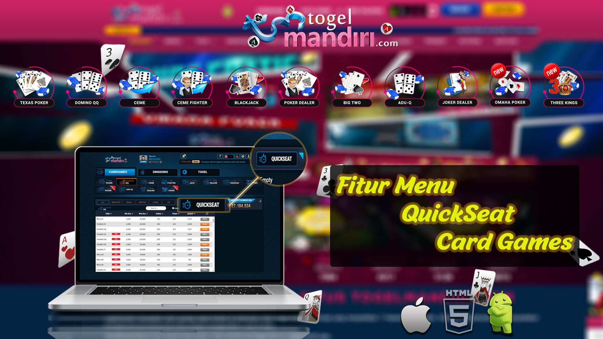 Fitur Menu QuickSeat Card Games